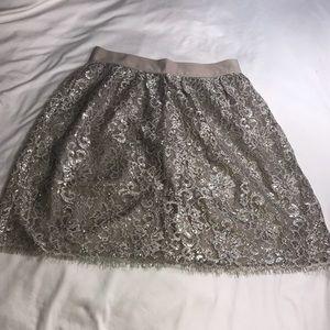 J Crew Women's 6 Gold Lace Knee Length Skirt